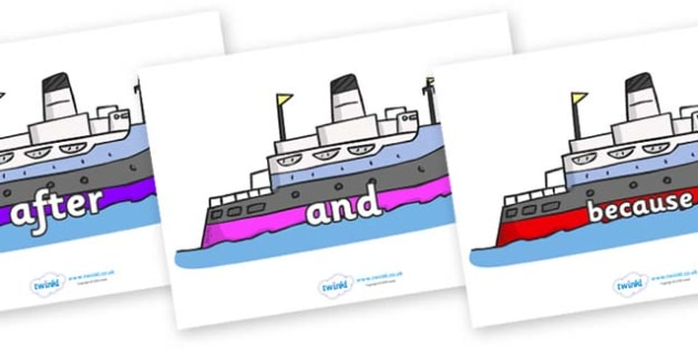 Connectives on Boats - Connectives, VCOP, connective resources, connectives display words, connective displays
