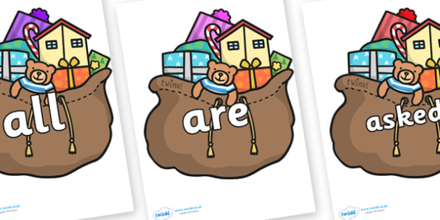 Tricky Words on Christmas Presents - Tricky words, DfES Letters and Sounds, Letters and sounds, display, words