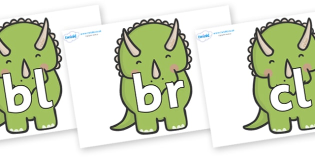 Initial Letter Blends on Triceratops Dinosaurs - Initial Letters, initial letter, letter blend, letter blends, consonant, consonants, digraph, trigraph, literacy, alphabet, letters, foundation stage literacy