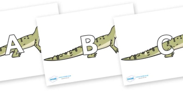 A-Z Alphabet on Aligators - A-Z, A4, display, Alphabet frieze, Display letters, Letter posters, A-Z letters, Alphabet flashcards