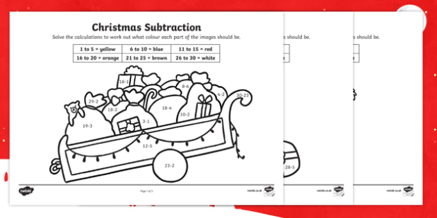 Christmas Subtraction to 30 Colour by Number