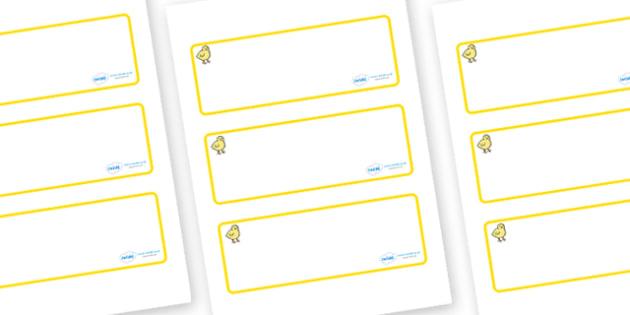 Chicks Themed Editable Drawer-Peg-Name Labels (Blank) - Themed Classroom Label Templates, Resource Labels, Name Labels, Editable Labels, Drawer Labels, Coat Peg Labels, Peg Label, KS1 Labels, Foundation Labels, Foundation Stage Labels, Teaching Label