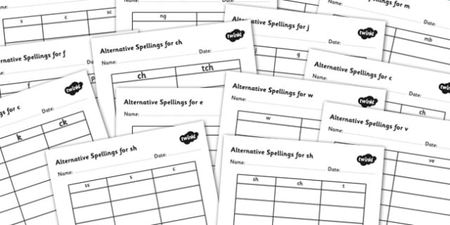 Alternative Spellings for Phonemes Table Worksheet Pack - alternative spellings for phonemes, table worksheet pack, table worksheet, phoneme worksheet