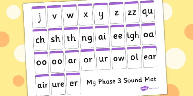 Phase 3 Sound Mat Letters Only - phase 3, sound mat, letters