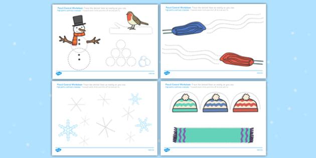 Winter Pencil Control Worksheets Romanian Translation - romanian, winter, pencil control, worksheets