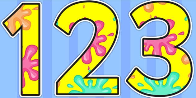 Splat Themed Display Numbers - splat, numbers, display numbers