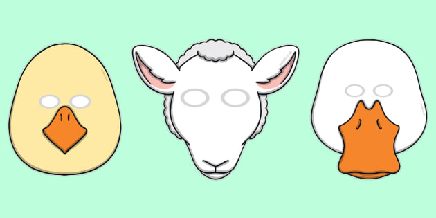 Spring Animal Role Play Masks - Spring, animal, Role Play, mask, chick, lamb, duckling, duck, chicken
