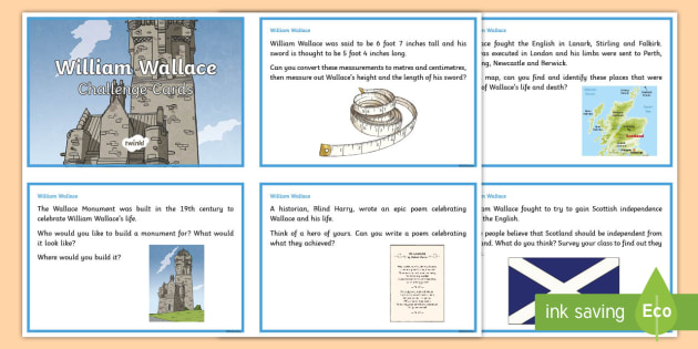 William Wallace Challenge Cards - CfE Scottish Significant Individuals, William Wallace, Challenge Cards, Social Studies, Scottish War
