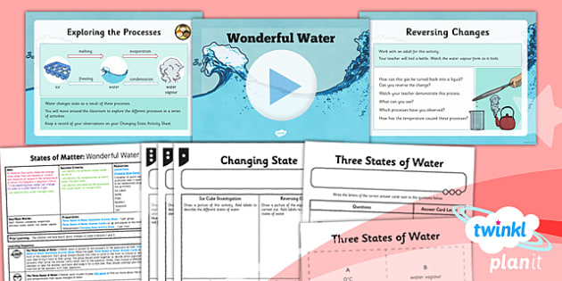 PlanIt - Science Year 4 - States of Matter Lesson 4: Wonderful Water Lesson Pack