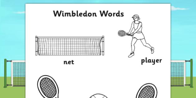 Wimbledon Themed Words Colouring Sheets - sports, sport, tennis