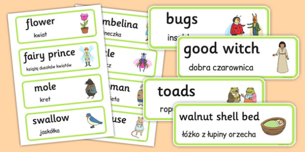 Thumbelina Word Cards Polish Translation - polish, thumbelina, word cards, word, cards