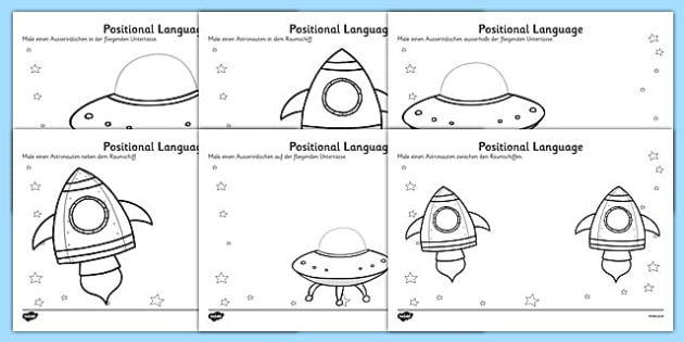 Alien Positional Language Worksheets German - german, worksheets, worksheet, work sheet, positional language, language, language worksheets, positional worksheets, positions, positions worksheets, sheets, activity, writing frame, filling in, writing