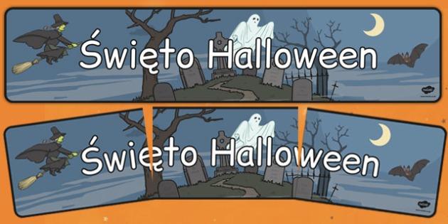 Banner na gazetkę ścienną Halloween po polsku - duch