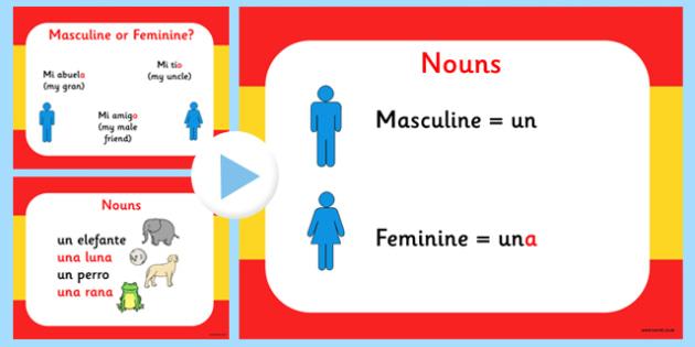 Spanish Genders PowerPoint - visual displays, gender, visual, aid
