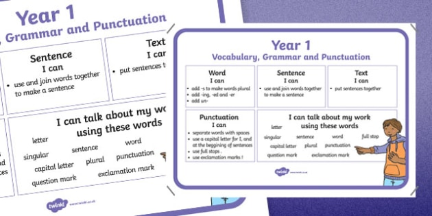 Year 1 Vocabulary Grammar and Punctuation Poster - vocabulary