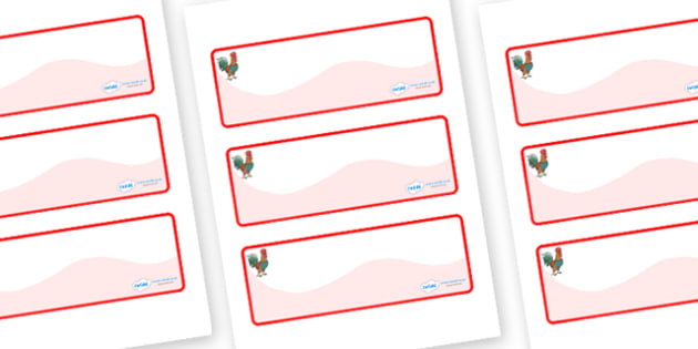 Rooster Themed Editable Drawer-Peg-Name Labels (Colourful) - Themed Classroom Label Templates, Resource Labels, Name Labels, Editable Labels, Drawer Labels, Coat Peg Labels, Peg Label, KS1 Labels, Foundation Labels, Foundation Stage Labels, Teaching