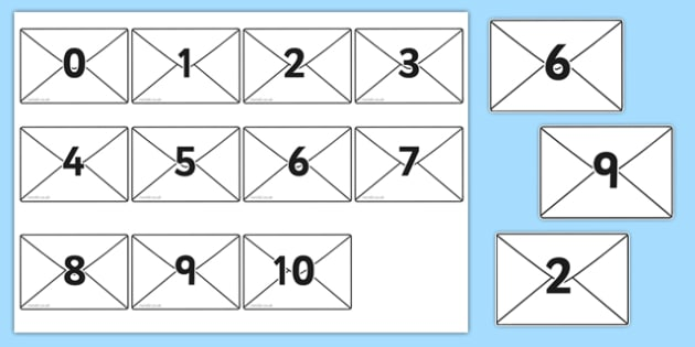 Numbers 0-10 on Envelopes - Envelopes, numbers, letterbox, post, Postal Worker, letter, parcel