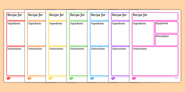 Editable Recipe Template - recipe, cooking, baking, recipe template, editable recipe sheet, writing template, writing aid, writing frame