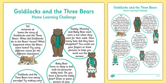 EYFS Goldilocks And The Three Bears Home Learning Challenge Sheet Reception FS2 - EYFS, homework, Early Years, fairytales, traditional stories, reception, foundation, parents