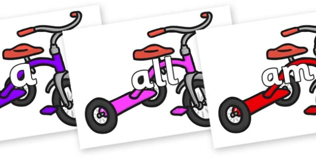 Foundation Stage 2 Keywords on Trikes - FS2, CLL, keywords, Communication language and literacy,  Display, Key words, high frequency words, foundation stage literacy, DfES Letters and Sounds, Letters and Sounds, spelling