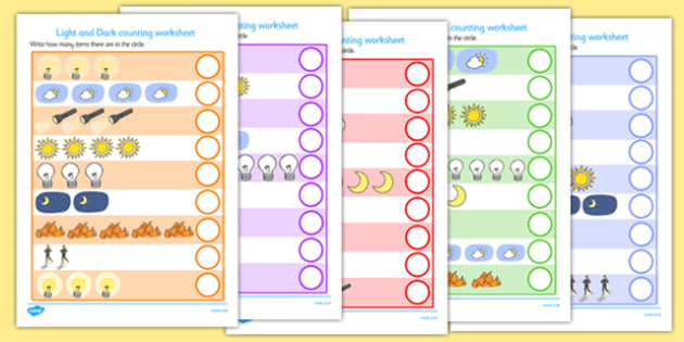 Light and Dark Counting Worksheet - counting worksheet, light and dark, counting, worksheet, light, dark, light and dark counting, light and dark worksheet