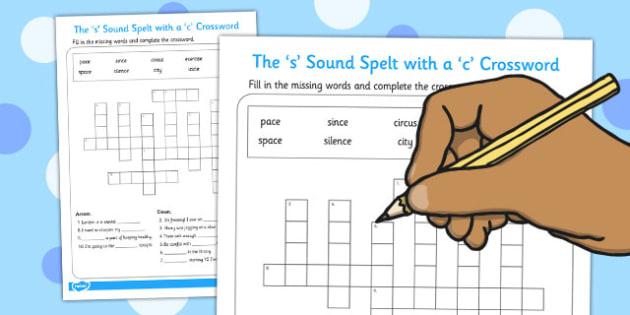 The s Sound Spelt with a c Crossword - crossword, s, activity