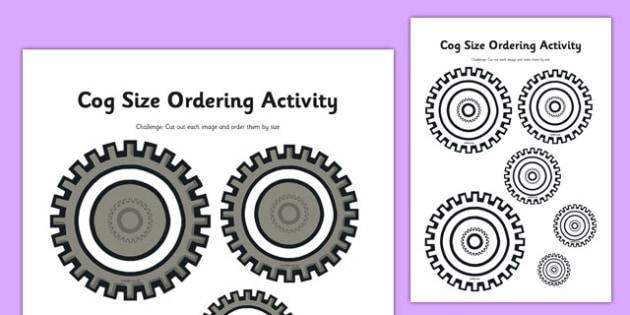 Cog Size Ordering Activity - clock shop, role play, clock, shop, roleplay, cog, size ordering