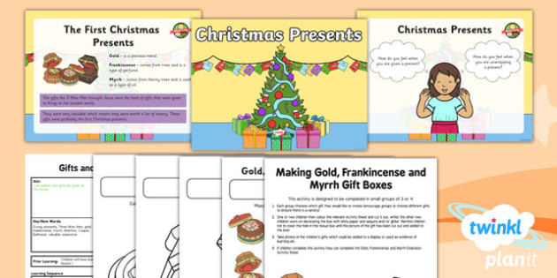 PlanIt - RE Year 1 - Gifts and Giving Lesson 3: Christmas Presents Lesson Pack - Christmas presents, Gold, Frankincense and Myrrh