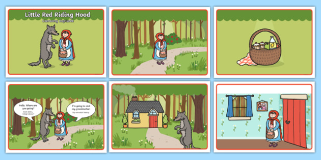 Little Red Riding Hood Story Sequencing with Speech Bubbles Polish Translation - polish, Little Red Riding Hood, traditional tales, tale, fairy tale, Wolf, Grandma, woodcutter, bed, cottage, forest, what big teeth you have