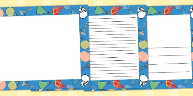 Science Page Borders Landscape - writing aid, writing template