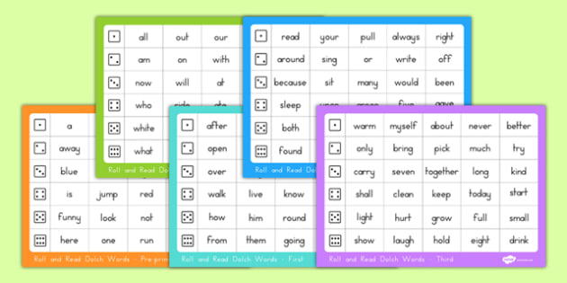 Dolch Word List Roll and Read Mats Pack - usa, america, dolch, word list, roll and read, mat, pack