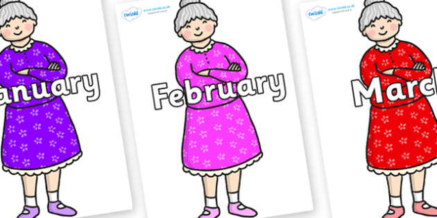 Months of the Year on Enormous Turnip Old Woman - Months of the Year, Months poster, Months display, display, poster, frieze, Months, month, January, February, March, April, May, June, July, August, September