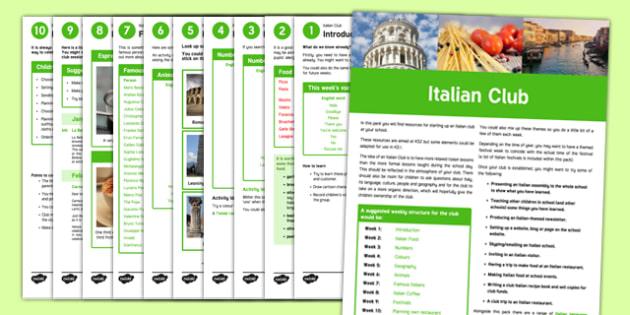 Italian Club Guidance and Plans for Teachers