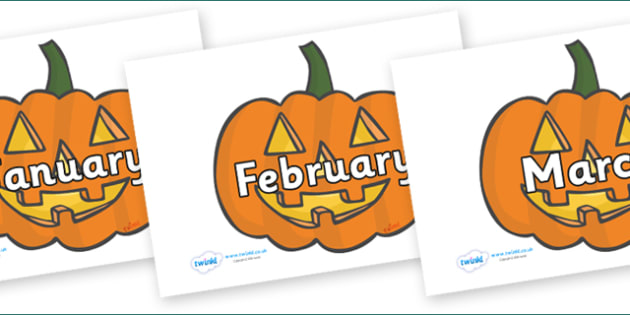 Months of the Year on Jack O'Lanterns - Months of the Year, Months poster, Months display, display, poster, frieze, Months, month, January, February, March, April, May, June, July, August, September