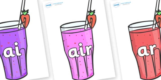 Phase 3 Phonemes on Smoothies - Phonemes, phoneme, Phase 3, Phase three, Foundation, Literacy, Letters and Sounds, DfES, display