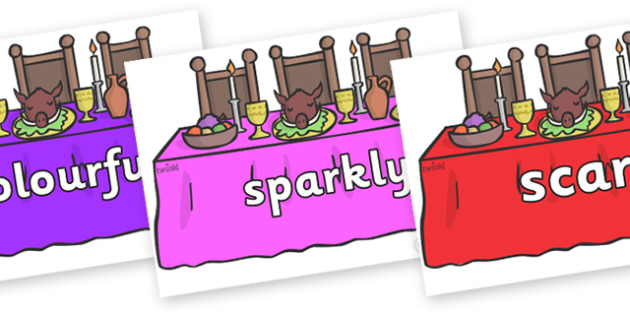 Wow Words on Dining Tables - Wow words, adjectives, VCOP, describing, Wow, display, poster, wow display, tasty, scary, ugly, beautiful, colourful sharp, bouncy
