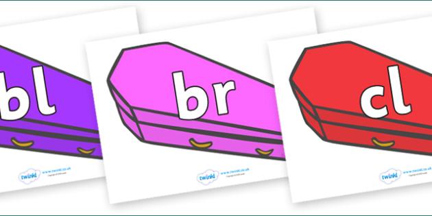 Initial Letter Blends on Coffins (Multicolour) - Initial Letters, initial letter, letter blend, letter blends, consonant, consonants, digraph, trigraph, literacy, alphabet, letters, foundation stage literacy