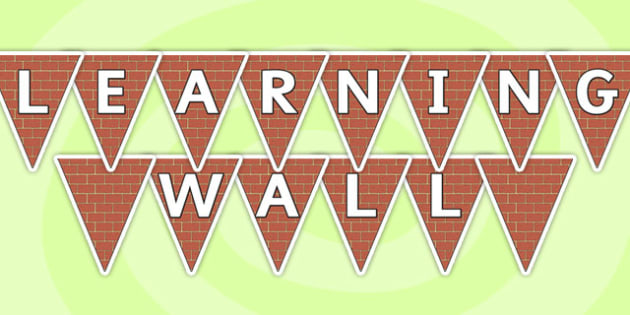 Learning Wall Display Bunting - learning wall, bunting, themed bunting, display bunting, bunting flags, flag bunting, cut out bunting, paper bunting