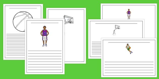 Basketball Writing Borders Pack - usa, basketball, nba, national basketball association, writing, write, borders