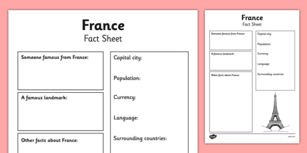 France Factsheet Writing Template - france, france fact sheet, france fact file, france worksheet, facts about france, france facts, french, ks2 geography
