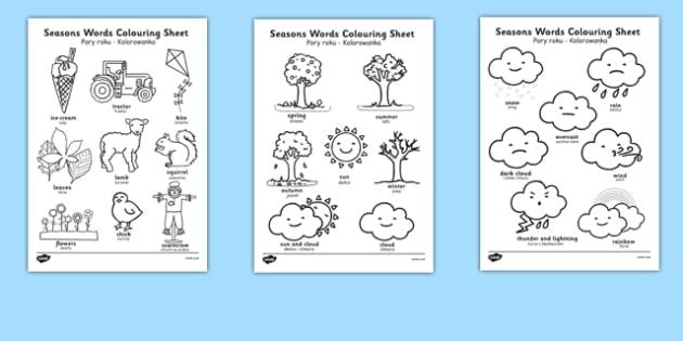 Season Words Colouring Sheets Polish Translation - bilingual, weather, summer, spring, winter, autumn, language, speech