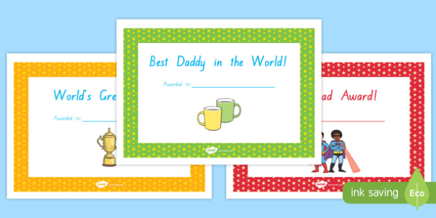 Father's Day Certificates