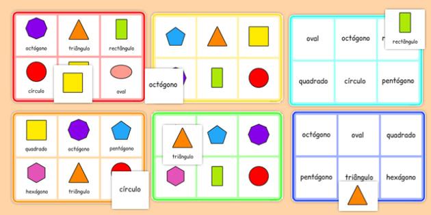 2D Shape Bingo Portuguese - portuguese, 2d shape, bingo, game, activity, 2d, shape, maths