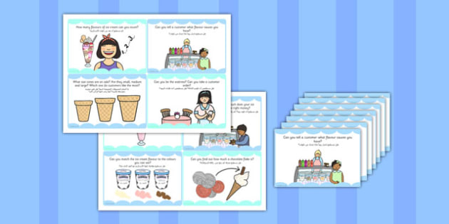 Ice Cream Parlour Role Play Challenge Cards Arabic Translation