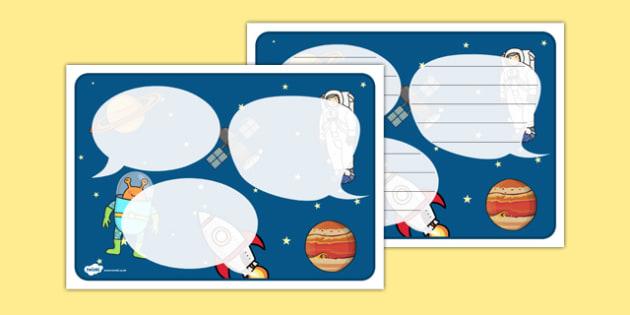 Space Themed Speech Bubbles - Space, aliens, planets, speech bubbles, observation