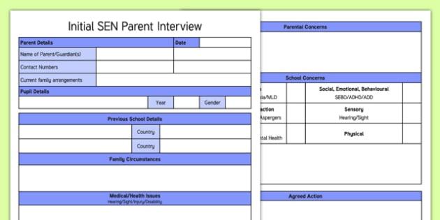 Initial SEN Parent Interview Form Template