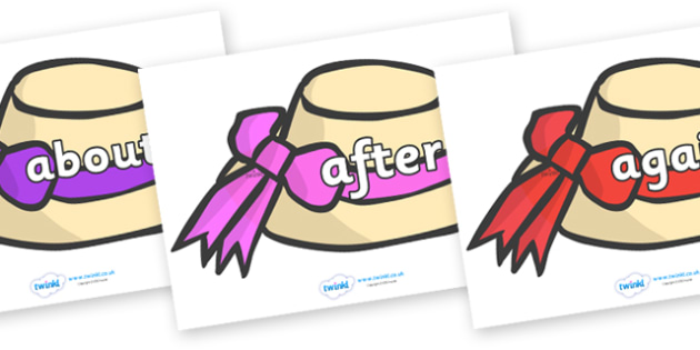 KS1 Keywords on Summer Hats - KS1, CLL, Communication language and literacy, Display, Key words, high frequency words, foundation stage literacy, DfES Letters and Sounds, Letters and Sounds, spelling