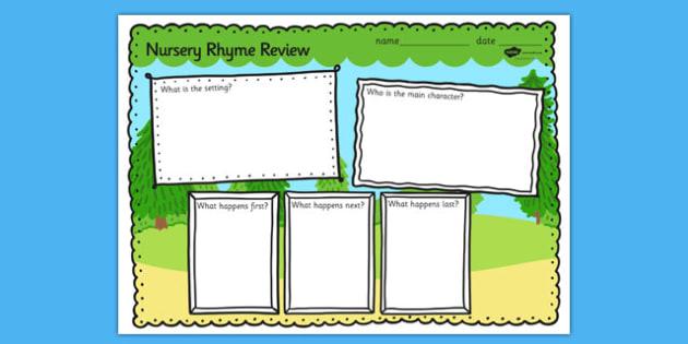 Nursery Rhyme Review Writing Frames - nursery rhyme, review, writing frames, rhyme