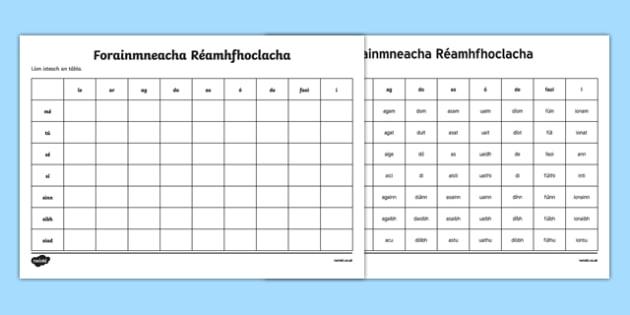 Forainmneacha Réamhfhoclacha Activity Sheet - Irish, worksheet