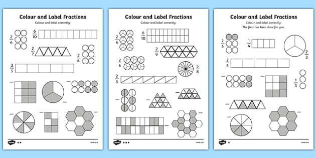 Colour and Label Fractions Worksheet - fractions, fractions worksheet ...